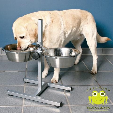 Миски на штативе хромированные 2 х 4,5 л для крупных пород собак Trixie