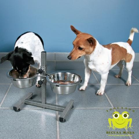 Пдставка под миски на штативе хромированные 2 х 2,8 л для средних пород собак Trixie