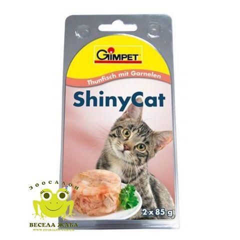 Консервы для взрослых кошек с тунцом и креветками Gimpet ShinyCat 2 x 85г