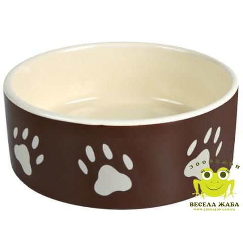 Миска керамическая белая/коричневая с лапками Trixie