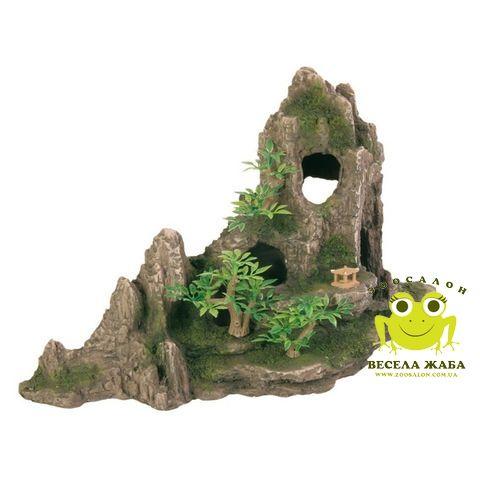 Декорация для аквариума Trixie Скала с пещерой и растениями